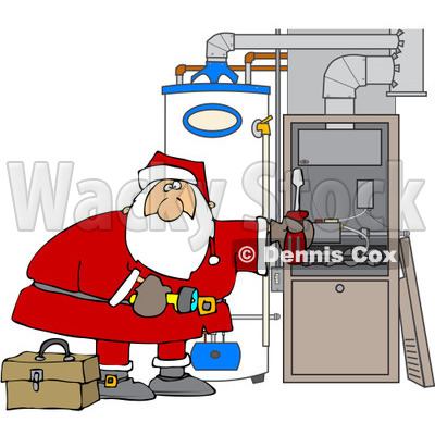 cartoon of santa working on a hvac furnace royalty free vector rh wackystock com