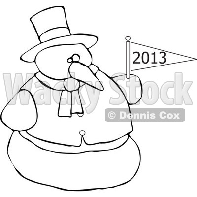 Cartoon Of An Outlined Snowman Holding A New Year 2013 Flag - Royalty Free Vector Clipart © djart #1134441