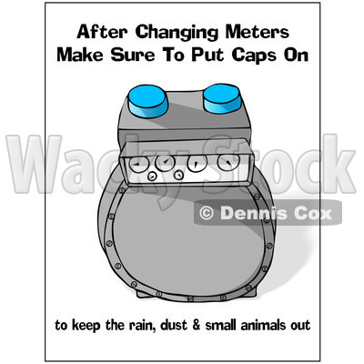 Cartoon Of A Gas Meter With Safety Text - Royalty Free Clipart © djart #1134443