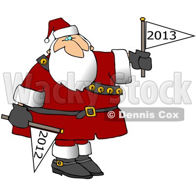 Cartoon Of Santa Putting Down A Year 2012 Flag And Holding Up A Year 2013 Flag - Royalty Free Clipart © djart #1139789