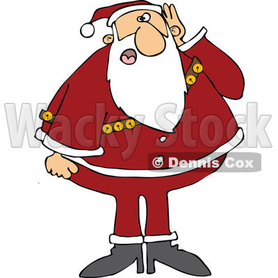 Cartoon of Santa Covering His Ear and Asking Someone to Repeat - Royalty Free Vector Clipart © djart #1144600