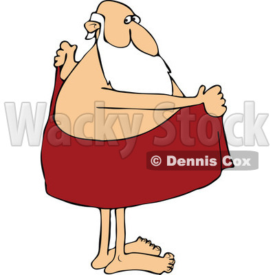 Cartoon of Santa Drying off with a Towel - Royalty Free Vector Clipart © djart #1144602