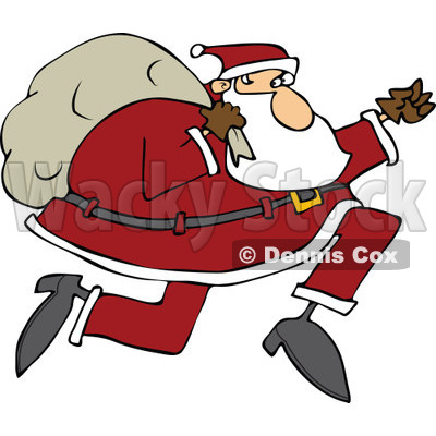 Cartoon of Santa Running with His Bag - Royalty Free Vector Clipart © djart #1146365