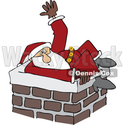 Cartoon of Santa Stuck in a Chimney and Waving for Help| Royalty Free Vector Clipart © djart #1146367