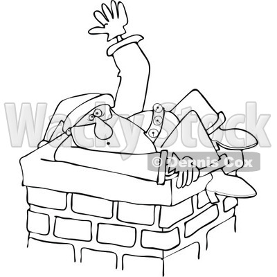 Cartoon of an Outlined Santa Stuck in a Chimney and Waving for Help| Royalty Free Vector Clipart © djart #1146368