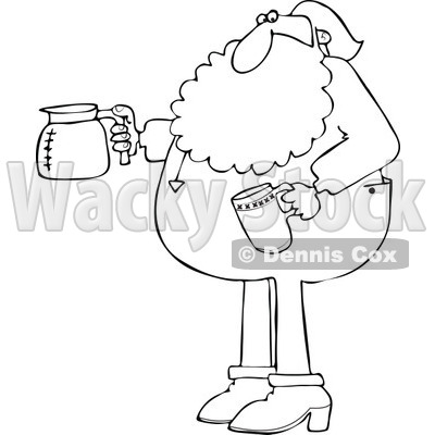 Cartoon of an Outlined Santa in His Pajamas Holding a Coffee Cup and Pot - Royalty Free Vector Clipart © djart #1146372