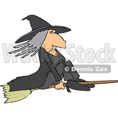Cartoon of a Witch Flying on a Broomstick - Royalty Free Vector Illustration © djart #1151805