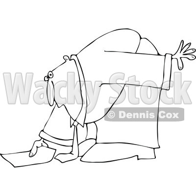 Cartoon of an Outlined Businessman Bending over to Pick up a Piece of Paper - Royalty Free Vector Clipart © djart #1160525