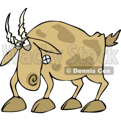Cartoon of an Angry Brown Goat - Royalty Free Vector Clipart © djart #1160534