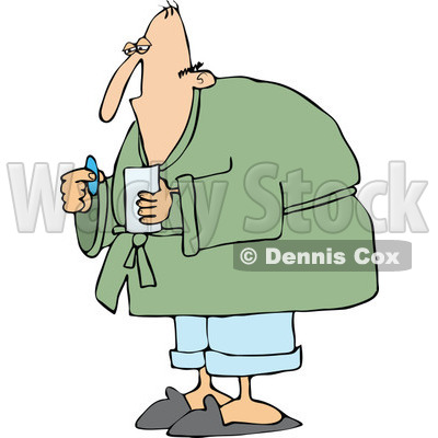 Cartoon of a Sick Man Taking a Pill - Royalty Free Vector Clipart © djart #1160538