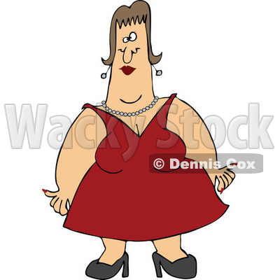Cartoon of a Woman with Fat Arms, Wearing a Red Dress - Royalty Free Vector Clipart © djart #1160540
