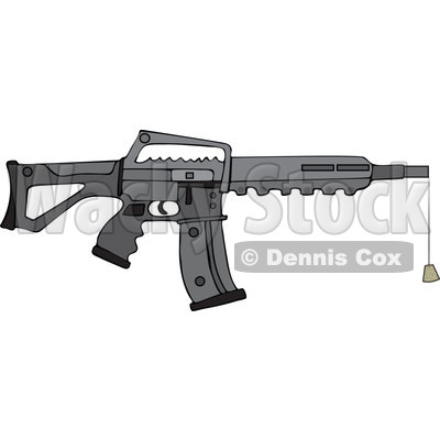 Cartoon of a Black Semi Automatic Assault Rifle with a Clip and a Cork - Royalty Free Vector Clipart © djart #1160720