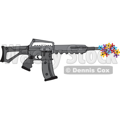 Cartoon of a Black Semi Automatic Assault Rifle with a Clip Shooting Flowers - Royalty Free Vector Clipart © djart #1160721