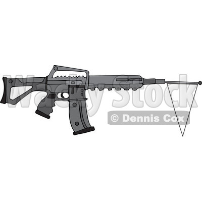 Cartoon of a Black Semi Automatic Assault Rifle with a White Flag - Royalty Free Vector Clipart © djart #1160724