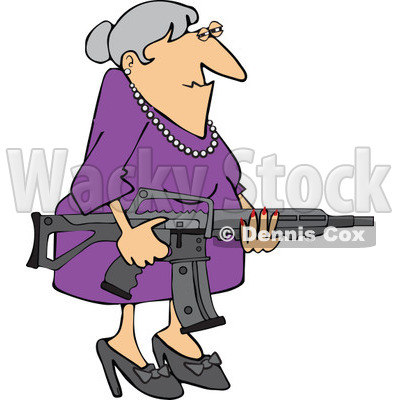 Cartoon of a Senior Caucasian Woman Holding an Assault Rifle - Royalty Free Vector Clipart © djart #1160955