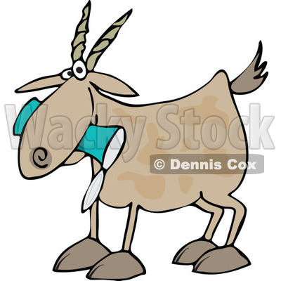 Cartoon of a Goat Eating a Can - Royalty Free Vector Clipart © djart #1160960