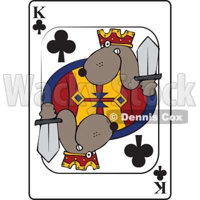 Cartoon of a Dog King Club Playing Card - Royalty Free Vector Clipart © djart #1162298