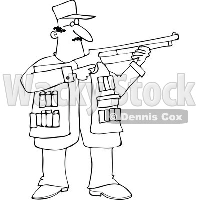 Cartoon of an Outlined Hunting Man Using a Shotgun - Royalty Free Vector Clipart © djart #1164203