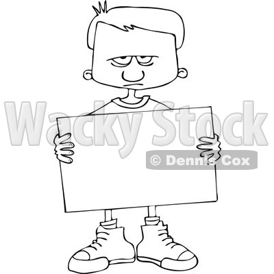 Cartoon of an Outlined Angry Boy Holding a Sign - Royalty Free Vector Clipart © djart #1164204