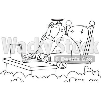 Cartoon of an Outlined Jesus Working on a Laptop at a Desk in Heaven - Royalty Free Vector Clipart © djart #1164206