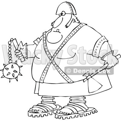 Cartoon of an Outlined Executioner Holding an Axe and Flail - Royalty Free Vector Clipart © djart #1164207