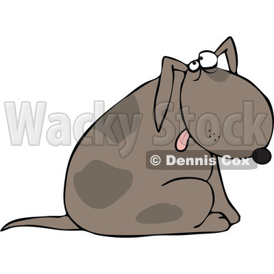 Cartoon of a Dog Sitting and Glancing Upwards - Royalty Free Vector Clipart © djart #1164209