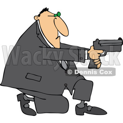 Cartoon of a Kneeling Man Using a Pistol - Royalty Free Vector Clipart © djart #1164212