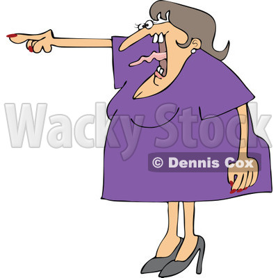 Cartoon of an Angry Woman Screaming and Pointing with Her Tonge Waving - Royalty Free Vector Clipart © djart #1166767