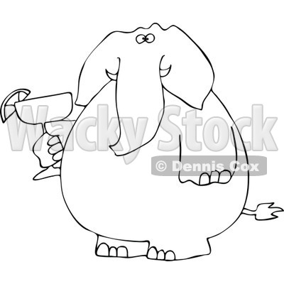 Cartoon of a Black and White Elephant Holding a Margarita - Royalty ...