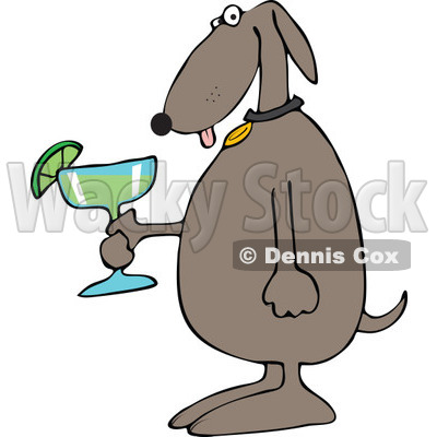 Cartoon of a Dog Holding a Margarita - Royalty Free Vector Clipart © djart #1168915