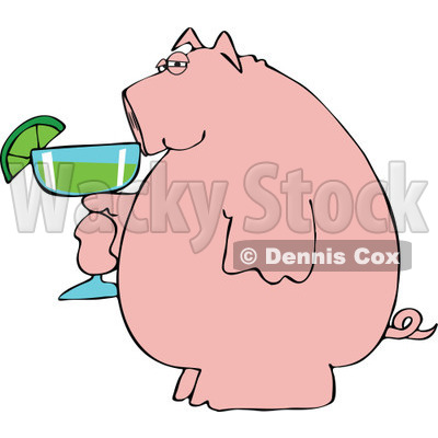 Cartoon of a Pink Pig Holding a Margarita - Royalty Free Vector Clipart © djart #1168924