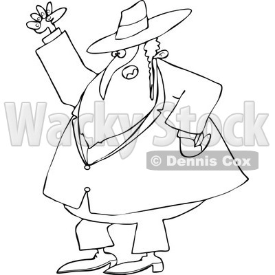 Cartoon of an Outlined Mad Rabbi Waving a Fist in the Air - Royalty Free Vector Clipart © djart #1171663