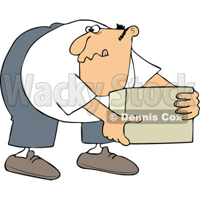 Cartoon of a Man Bending over and Picking up a Box - Royalty Free Vector Clipart © djart #1172037