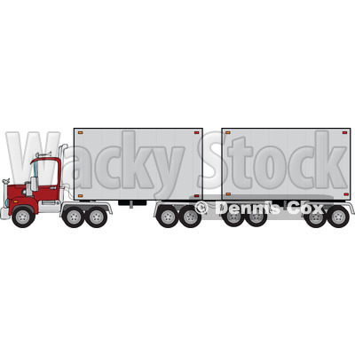 Cartoon of a Big Rig Truck with a Double Trailer - Royalty Free Vector Clipart © Dennis Cox #1172266