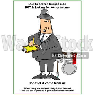 Cartoon of a DOT Man Looking at a Meter with Text - Royalty Free Clipart © djart #1172271