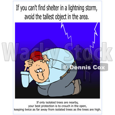 Cartoon Of A Man Ducking In Lightning Storm With Warning Text