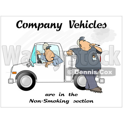 Cartoon of a Man Smoking by a Work Vehicle with Text - Royalty Free Clipart © djart #1172275