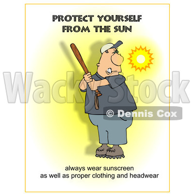Cartoon of a Sunscreen Warning and a Man Batting - Royalty Free Clipart © djart #1172276