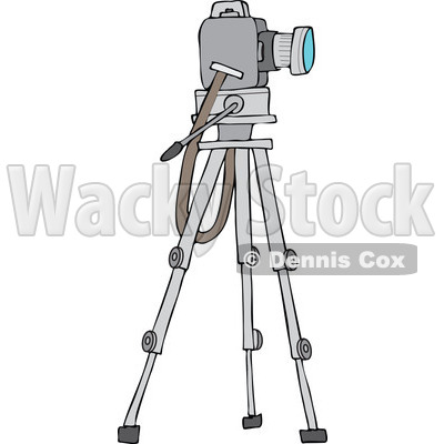 Cartoon of a Camera on a Tripod Stand - Royalty Free Vector Clipart © djart #1173242