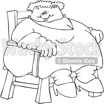 Cartoon of an Outlined Circus Freak Fat Lady Sitting in a Chair - Royalty Free Vector Clipart © djart #1173247