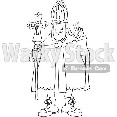 Cartoon of an Outlined Pope Wearing Sneakers - Royalty Free Vector Clipart © djart #1176082