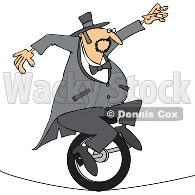 Cartoon of a Circus Man Riding a Unicycle on a Tight Rope - Royalty Free Vector Clipart © djart #1176088