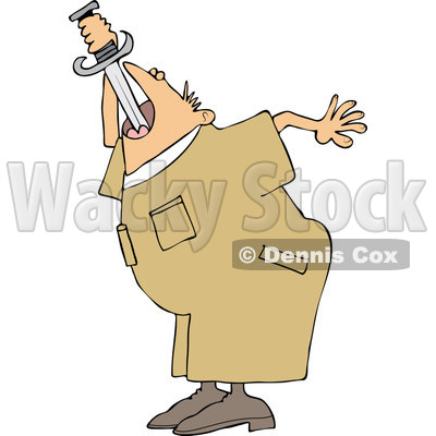 Cartoon of a Worker Man Practicing Sword Swallowing - Royalty Free Vector Clipart © djart #1177328