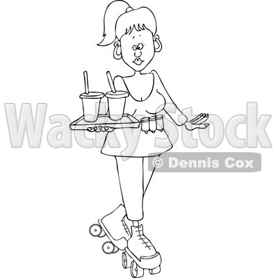 Cartoon of an Outlined Roller Skating Carhop Waitress with Drinks on a Tray - Royalty Free Vector Clipart © djart #1177989
