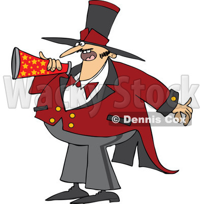 Cartoon of a Chubby Male Circus Ringmaster Announcing Through a Megaphone - Royalty Free Vector Clipart © djart #1177993