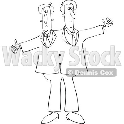 Cartoon of Outlined Circus Freak Siamese Twin Men - Royalty Free Vector Clipart © djart #1179792