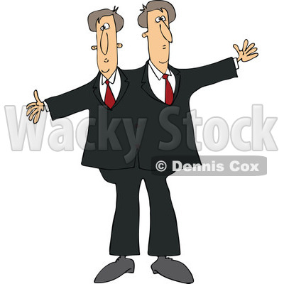 Cartoon of Circus Freak Siamese Twin Men - Royalty Free Vector Clipart © djart #1179793