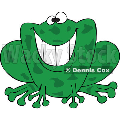 Cartoon of a Grinning Green Frog - Royalty Free Vector Clipart © djart #1181990