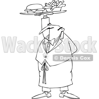 Cartoon of an Outlined Male Waiter Serving a Gourmet Cheeseburger and Fries - Royalty Free Vector Clipart © djart #1184718