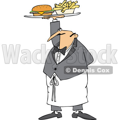 Cartoon of a Male Waiter Serving a Gourmet Cheeseburger and Fries - Royalty Free Vector Clipart © djart #1184722